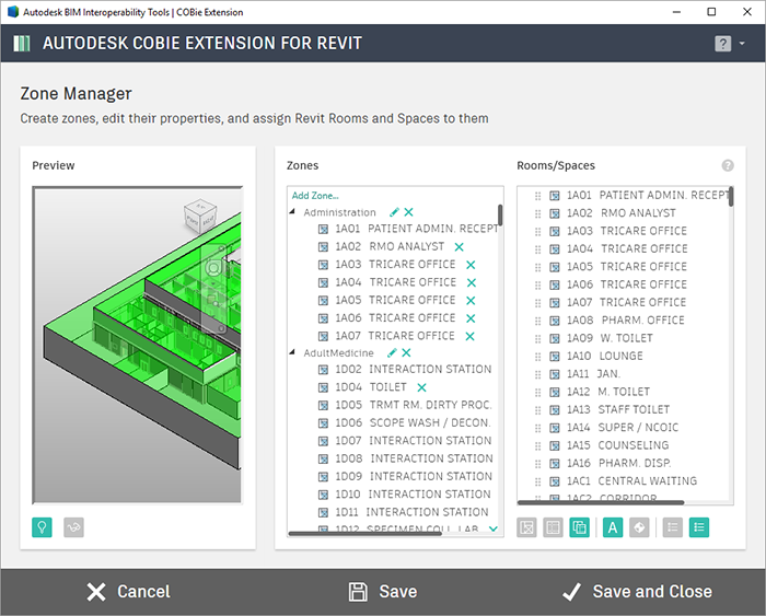 Autodesk COBie Extension for Revit